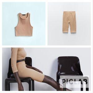 Zara beige pink 2 pieces halter top & bike shorts
